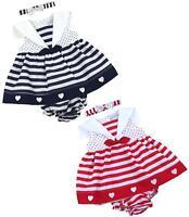 BabyPrem Baby Girls Clothes Dresses Red Navy Hearts & Stripes Dress 6-18m