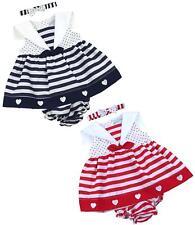babyprem Bebé Niña Ropa Vestidos rojo azul marino corazones & Rayas 6-18m