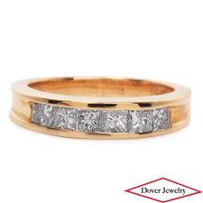 Estate 1.10ct Diamond 14K Gold Elegant Princess Cut Band Ring NR