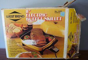 """vintage Westbend 11"""" Electric Buffet Skillet  #1430 Harvest Gold NOS Dome lid"""