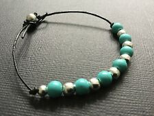 Black Real Leather And Turquoise Beaded Bracelet