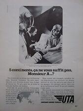 1972 PUB COMPAGNIE UTA AIRLINE AIRLINER ALDRIN ASTRONAUT ORIGINAL FRENCH AD