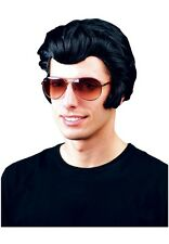 Vestido de lujo Elvis rocker de la peluca negra 50s 70s Discoteca Baile Grasa John Travolta