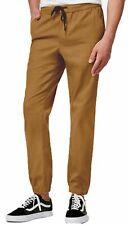 New Mens Univibe Jagged Cotton Twill Khaki Drawstring Jogger Pants L