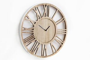 Modern Large Wood & Silver Metal Skeleton Cut Out Roman Numeral Hall Wall Clock