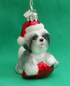 Noble Gems Glass Christmas Tree Decoration Dog Santa Hat - Shih Tzu