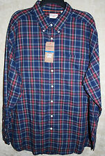 NEW Dockers long sleeve Casual shirt Red Blue Plaid XLT 1Pocket Cotton blend