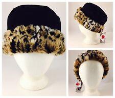 New With Tags - Parkhurst Canada Safari Leopard Faux Fur Cuffed Pillbox Hat
