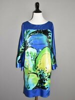 JOSEPH RIBKOFF $269 Satin Blue Floral Shift Dress w/ Slit Sleeves Size 6