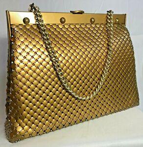 Vintage Whiting & Davis Matte Gold Brass Mesh Purse Handbag Bag Metal Chain USA