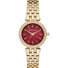 Michael Kors Women's MK3583 Mini Darci Garnet Ruby Dial Gold Bracelet Watch