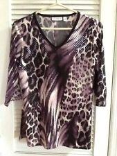 Susan Graver Sparkle Knit Animal Print Top -Size XS