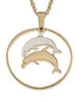 """Dolphin Pendant & Necklace. Iceland Coin Hand Cut, 1"""" dia. ( # 176 )"""
