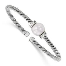 Platinum Sterling Silver White Sapphire F.Water Pearl Cable Cuff Bangle Bracelet