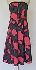 Max and Cleo Strapless Boned Coral and Black Sundress Sz 6 NWT