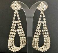 Vintage Bridal Crystal Rhinestone Dangling Triple Loop Post Pierced Earrings 719