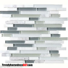 10-Sf Blue White Glass Marble Mosaic Tile kitchen backsplash wall bathroom sink