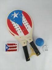 Puerto Rico Banner Beach Tennis Paddle Ball Game Set & Briscas Naipe Boricua PR
