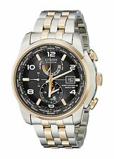 CITIZEN MENS $625 ECO-DRIVE TWO-TONE ATOMIC WORLD TIME ALARM WATCH AT9016-56H