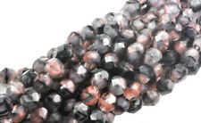 50 Pink And Black Faceted Fire Polished Czech Glass Round Loose Beads 6MM