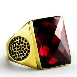 SOLID 10K Yellow Fine GOLD with Red Garnet Gemstone Fine Statement Ring for Men
