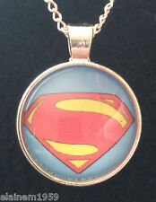 "Superman Cabachon glass dome Necklace Pendant.20"" chain"