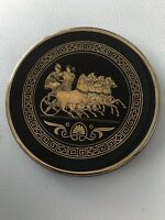 """HAND MADE IN GREECE RHODES IBISCUS 24k GOLD MYTHOLOGICAL DECORATIVE 4"""" PLATE"""