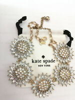 Kate Spade signed transparent Star Flowers Retired Statement Necklace with bag