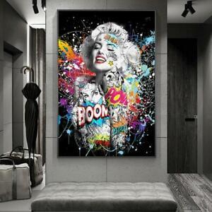 Graffiti Art Marilyn Sexy Portrait Canvas Painting Pop Art Poster Modern Art