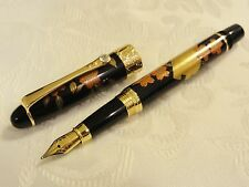 Handmade Japanese Urushi Lacquer Makie fountain Pen Swarvski Flower and Raft