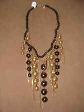CHAN LUU SILVER GOLD BROWN RHINESTONE CRYSTAL PEARL EMBELLISHED NECKLACE NWOT