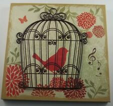 3D Metal Wall Art Hanging Picture Sign w/ Iron Caged Bird Music Butterfly #606