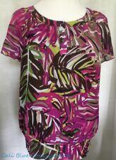 APT 9 Fushia Pink Tropical PALM Print Lined Semi-Sheer Top Shirt MEDIUM  Pretty!