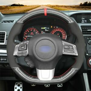 Black PU Carbon Fiber Hand Sew Steering Wheel Cover for Subaru WRX (STI) Levorg