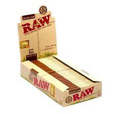 RAW ORGANIC Unrefined 1-1/4 Size 100% Hemp Rolling Papers Box (24 packs)