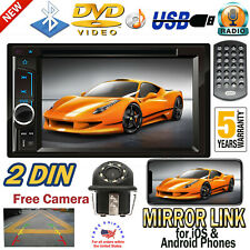HD 2Din Touch Screen Car Stereo CD DVD Player Radio Android IOS Mirror Link &Cam