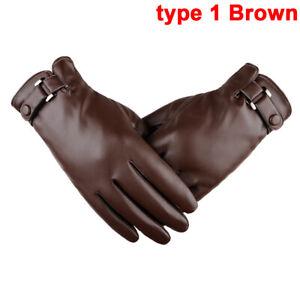 Men's Waterproof Warm PU Leather Black Motorcycle Winter Driving Gloves