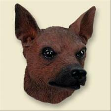 Miniature Pinscher Red Brown Dog Head Painted Stone Resin Magnet