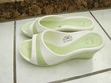 SIZE 8/9 New CROCS Lime Green /White  Womens Wedge Sandals