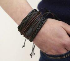 4 Bracelets Femme,Homme,Cuir Noir et Marron,Tressés,Qualité,Coloration Végétale