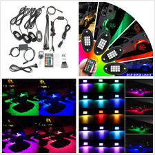 4 Pcs 6000K Multi-Color LED Car SUV Rock Light Chassis Lamps + Dual Remotes 12V