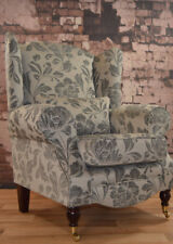 Wing Back Queen Anne Cottage Chair - Prestbury Dove Grey Fabric + Free Cushion.