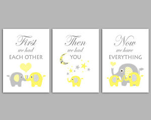 Elephant Pictures For Baby Room - First We Had Each Other - Set Of Three Prints