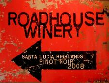 """TIN SIGN """"Roadhouse Winery"""" Wine Bar  Mancave Wall Decor Vintage Booze Gift"""