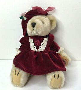 """Pickford PEARL Bear of Wealth Brass Button Collectable Plush Stuffed Jointed 12"""""""