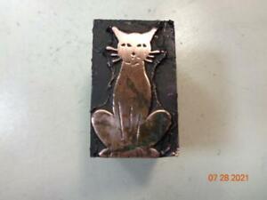 Printing Letterpress Printer Block Decorative Cat Print Cut