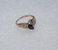 14K YELLOW GOLD MIDNIGHT SAPPHIRE DIAMOND RING SIZE 5.5 N105-B