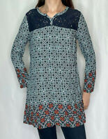 Brand Unknown Loose Tunic Blouse Top Blue Teal Geometric Lace S/M Small/ Medium