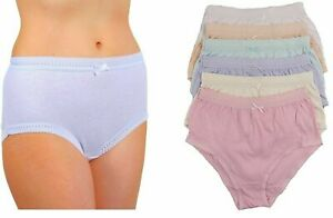 Pack of 6 Ladies Cotton Underwear Full Comfort Ribbed Briefs Nickers Pastel S M
