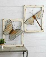 WOOD FRAMED METAL WALL DECOR RUSTIC ANTIQUE LOOK COUNTRY HOME ART BUTTERFLY